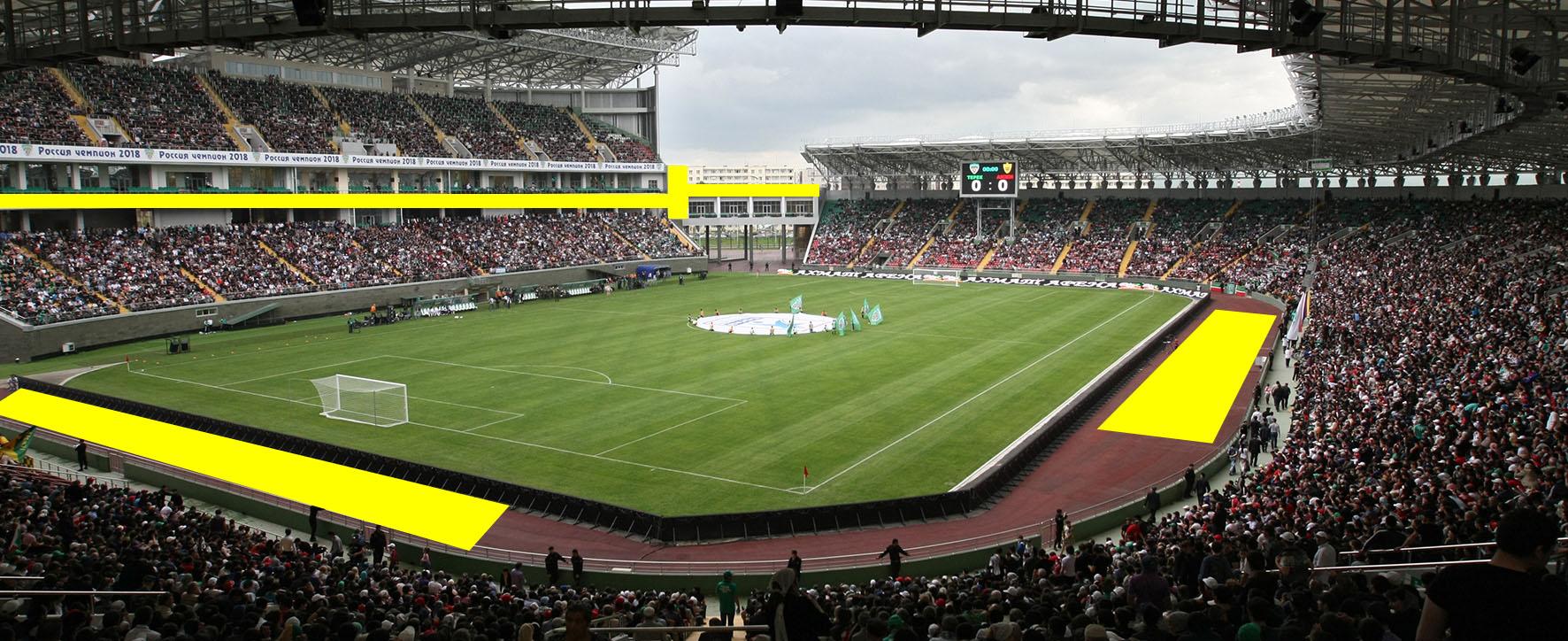 Размещение рекламы на Ахмат-Арена / стадион внутри чаши