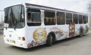 Реклама на транспорте в Дагестане внутри кабины